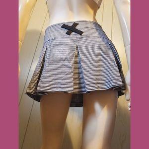 Black & White Stripes Flared Pleated Mini Skirt